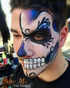 Sugar Skull Makeup/Face Painting - Color Me Face Painting - Vanessa Mendoza Sugar Skull Face Paint, Sugar Skull Makeup, Sugar Skulls, Face Painting Colours, Face Painting Designs, Amazing Halloween Makeup, Halloween Face Makeup, Male Makeup, Makeup Art