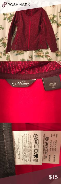 Eddie Bauer Jacket Ladies XXL Red From fall 2012 only worn a couple of times. Lightweight water resistant shell with red fleece lining. Front pockets plus pocket at left upper arm. Cord at waistline for cinching. Eddie Bauer Jackets & Coats Utility Jackets