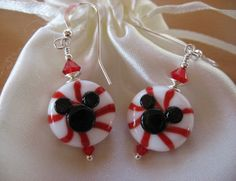 Mickey Minnie Earrings, Christmas Candy Earrings, Disney Earrings, Disney Cruise Earrings, Handmade Lampwork Beads, Red White Black, Candy