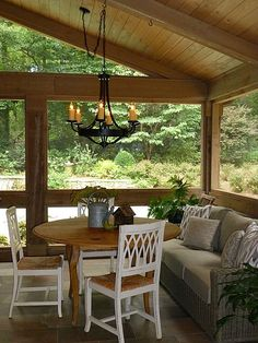 Porch with a fireplace and tv screened porch with for Craftsman style screened porch