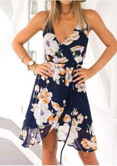 Floral Lace Up Chiffon Sexy Mini Strap Dress
