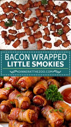 Little smokies wrapped in bacon, then baked to golden brown perfection. An easy appetizer! Little smokies wrapped in bacon, then baked to golden brown perfection. An easy appetizer! Bacon Appetizers, Appetizers For Party, Appetizer Recipes, Bbq Food Ideas Party, Party Food Meat, Southern Appetizers, Food Food, Little Smokies Recipes, Bacon Wrapped Little Smokies
