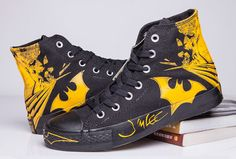 5418899edd84 Black Yellow Batman Converse DC Comics High Tops Chuck Taylor All Star  Canvas Shoes   Converse flag shoes and converse platform shoes outlet