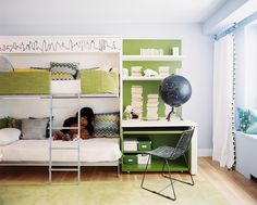 Every Single Awesome Bunk Room Featured on Lonny: Celerie Kemble added a sleek skyline illustration to this city space, to give top bunk guests a good view too.