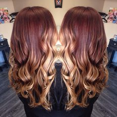 #hairbyvas #balayage red brown to a blonde! #goldwell #modernsalon #behindthechair