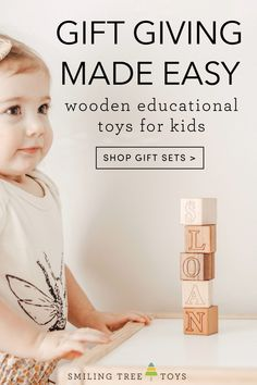 We know how hard it is to find the perfect toy for the little one in your life. Whether it's your own kid or a friend's child… Gifting is tough, but it doesn't have to be. That's why we created a handful of carefully curated wooden educational toy gift sets that will meet the needs of any gifting situation, be it new baby, one year olds, newborn and older sibling, and more! Wooden Educational Toys, Childrens Gifts, Newborn Baby Gifts, Babies First Christmas, Gift Sets, Sibling, Gifts For Kids, First Birthdays, Make It Simple