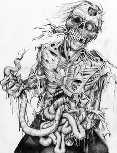Draw Creatures 40 Insanely Cool Zombie Drawings and Sketches - Bored Art - Zombies are frightening dead creatures living for eating brain.Take your Zombie curiosity ahead, here are some Insanely Cool Zombie Drawings and Sketches. Zombie Kunst, Arte Zombie, Zombie Art, Arte Horror, Horror Art, Tattoo Crane, Zombie Drawings, Marvel Drawings, Zombie Tattoos