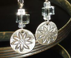 Flowery disks  silver clay with gray rectangles and by TraciOtte, $30.00
