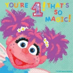 Sesame Street first birthday party napkin featuring Abby Cadabby! 1st Birthday Party Supplies, Fairy Birthday Party, Kids Party Supplies, First Birthday Parties, Birthday Ideas, Sesame Street Party Supplies, Abby Cadabby, Custom Birthday Invitations, Sesame Street Birthday