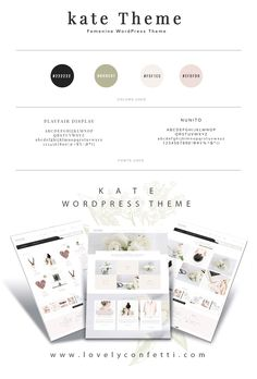 Introducing Kate a elegant and feminine Wordpress theme - LovelyConfetti Wordpress Website Design, Wordpress Theme Design, Blog Design, Web Design Inspiration, Email Newsletter Design, Create Your Own Website, Wordpress Template, Feminine, Confetti