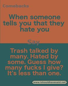 52 Ideas for funny comebacks and insults clean – funny memes Witty Insults, Funny Insults And Comebacks, Snappy Comebacks, Clever Comebacks, Comebacks Sassy, Awesome Comebacks, Comebacks For Haters, Comebacks For Bullies, Good Comebacks To Guys