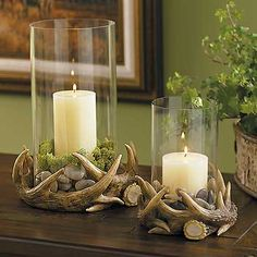 Antler hurricane lamp - Might look nice w/bear skin rug & other dead things that will be displayed in basement someday