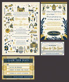 Disneyland Wedding invitations by Adam Grason , via Behance