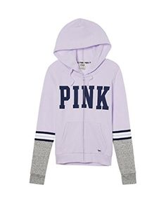 Victoria's Secret PINK New! Perfect Full-Zip Hoodie jacket Medium Lucky Lilac (A2W )