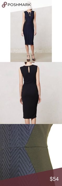 NWOT Islington pencil dress by Weston Wear Stunning dark navy and black lace front sheath. Figure flattering black side panels. Keyhole button back. Anthropologie Dresses