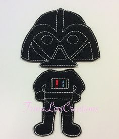 non paper doll Darth Vader outfit dress up doll pretend play star wars felt doll