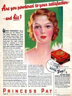 "Vintage 1938 Princess Pat Face Powder ad - ""The only almond base face powder"" Makeup History, Face Powder, Ads, Make It Yourself, Princess, Almond, Free, Vintage, Almond Joy"