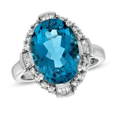 Oval Blue Topaz and Lab-Created White Sapphire Ring in Sterling Silver - Zales