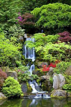 Beautiful Waterfalls, Beautiful Landscapes, Beautiful Gardens, Waterfall Design, Garden Waterfall, Portland Japanese Garden, Japanese Gardens, Waterfall Wallpaper, Oregon Waterfalls