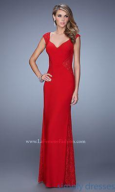 Floor Length V-Neck Lace Embellished La Femme Dress at SimplyDresses.com