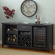 Firenze Wine and Spirits Credenza with 28 Bottle Touchscreen Wine Refrigerator…