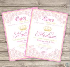 Princess Invitations Printable Pink Gold Birthday Invitations Baby Shower Available Crown Once Upon a Time Princess theme package party on Etsy, $16.83 CAD