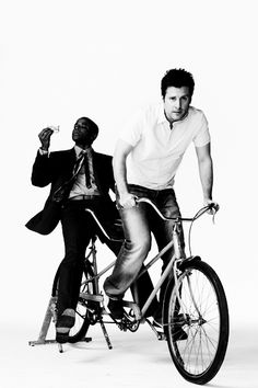 James Roday and Dule Hill on a double-seater bike? Heck yes!!
