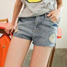 Women's Jeans Pants With Destroy Wash Fringe Hem Design #women, #men, #hats, #watches, #belts, #fashion, #style