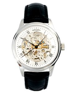 Rotary Skeleton Dial Leather Strap Watch GS02518/06