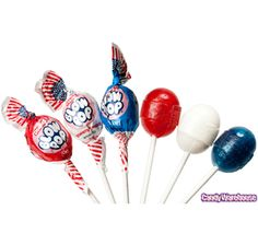 Just found Patriotic USA Charms Blow Pops: Bag Thanks for the First Birthday Parties, First Birthdays, Candy Rush, Childhood Memories 90s, American Party, Sr500, July Baby, Blue Candy, Candy Buffet