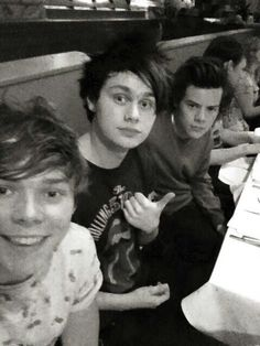 Ashton Irwin, Michael Clifford from 5 Seconds Of Summer and Harry Styles from One Direction