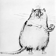 Fat cats get fatter - a lovely cat drawing by Ronald Searle