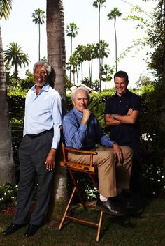 Morgan Freeman, Clint Eastwood & Matt Damon by Nigel Parry. Clint And Scott Eastwood, Actor Clint Eastwood, Matt Damon, Ray Charles, Invictus Film, Sandro, Morgan Freeman, Mel Gibson, Robert Redford