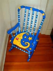 Painting kids furniture projects ideas for 2019 Painted Wooden Chairs, Painted Rocking Chairs, Whimsical Painted Furniture, Hand Painted Furniture, Funky Furniture, Furniture Projects, Furniture Makeover, Painted Childs Chair, Childs Rocking Chair