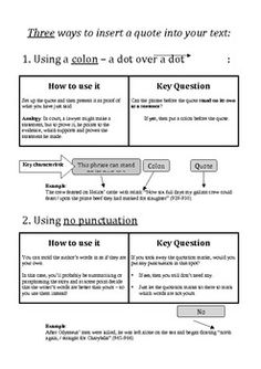 A student handout explaining the three ways to integrate or embed a quotation into one's writing. Simple and easy for students to understand. $