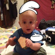 My nephew Jameson, so cute as a smurf!