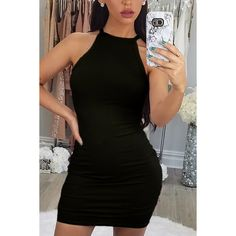 Yoins Black Halter Neck Mini Bodycon Dresses (19 AUD) ❤ liked on Polyvore featuring dresses, black, short bodycon dresses, halter bodycon dress, sexy short cocktail dresses, halter dress and sexy bodycon dresses