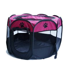 """HENREK Pet Dog Cat Playpen Cage Crate - Portable Folding Exercise Kennel - Indoor & Outdoor Use (L(35""""Dia x 24""""H), Rose red)"""