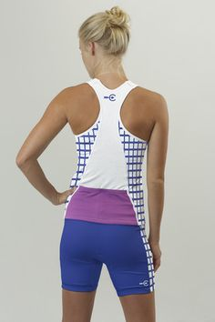 Women's specific tri tank in checkmate design // Coeur Sports