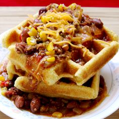 Corn bread and chili are fun, but the waffle iron makes it better! I don't eat cornbread often, but when I do, I make it in a waffle iron.