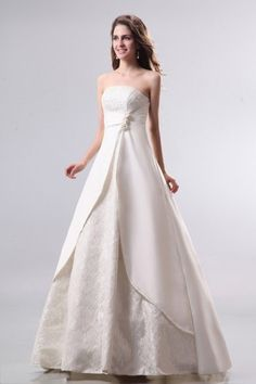 Classic Princess Strapless Floor-length Satin Lace Wedding Dress....... This is a Marshall choice lol!