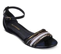 Sandália rasteira de couro preta | Sandálias | Bottero Calçados