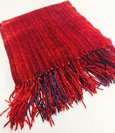 Woven Rayon Chenille Ruby Scarf by Claire Perrault