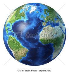 Stock Illustration - Earth globe, realistic 3 D rendering. Atlantic ocean view. - stock illustration, royalty free illustrations, stock clip art icon, stock clipart icons, logo, line art, pictures, graphic, graphics, drawing, drawings, artwork