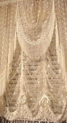 Lace and beaded curtains...