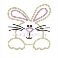 Easter Bunny Face Digitized Applique Embroidery Machine Design Pattern 4x4 5x7 6x10