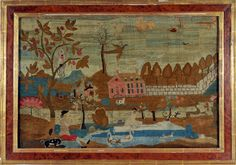 FISHING LADY Boston, Massachusetts c.1760  Extremely rare folk art mid-18th century Boston needlework picture with an original composition, ...