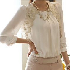 2015 Fashion New Women Embroidery Long-sleeved Chiffon blusas Lady Casual Lace Blouse Women's clothing S M L XL XXL LS1044