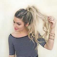 Messy Ponytail With Two Braids