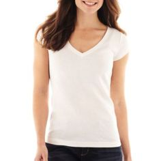 Live love long o neck ls top rpt being human many for Liz claiborne v neck t shirts